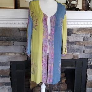 Soft surroundings rayon batik artisan cardigan
